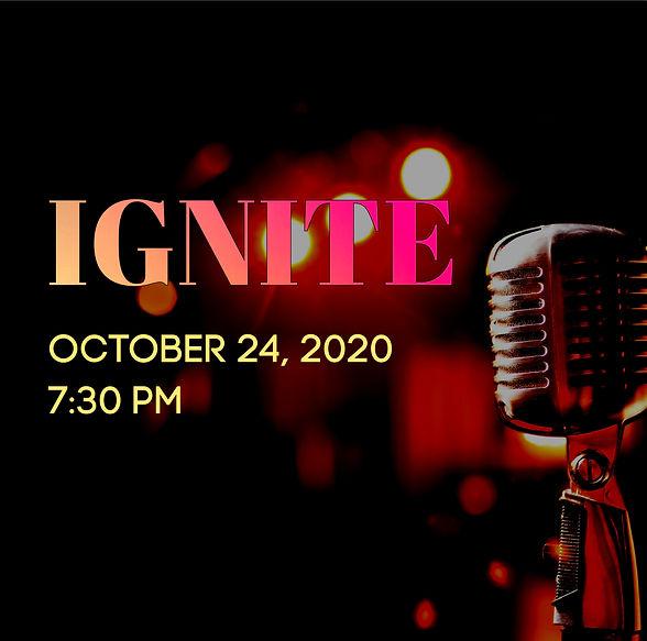Microphone against a dark background. Ignite - October 24, 2020, 7:30 pm