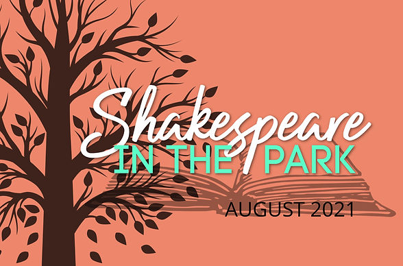 Shakespeare in the Park. August 2021. A tree and an open book silhouette against a salmon coloured background.