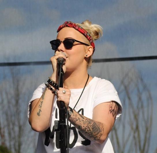 Becki on stage at Bedford River Festival