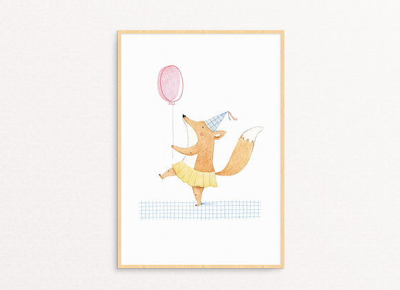 Girl Fox With A Balloon
