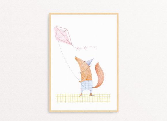 Fox flying a kite