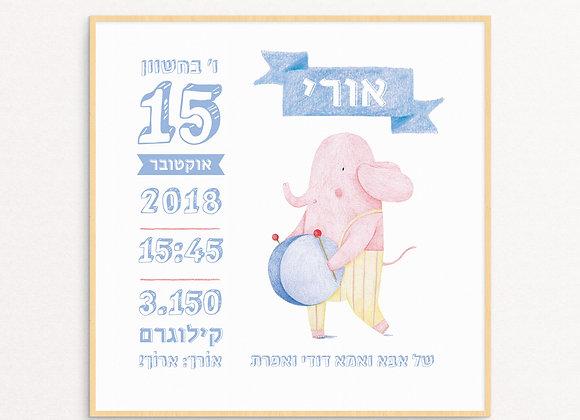 Blue Birth Announcement