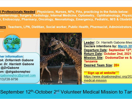 Register for 2021Tanzanian Medical Mission at https://www.drgaboneqhsc.org/2021-medical-mission