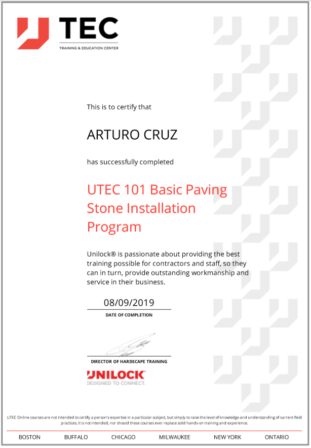 Art Unilock Basic Paving Certification