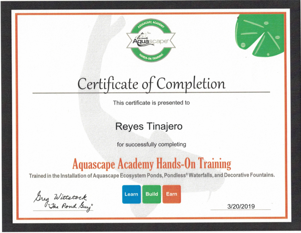 Rey's Certification AquaScape