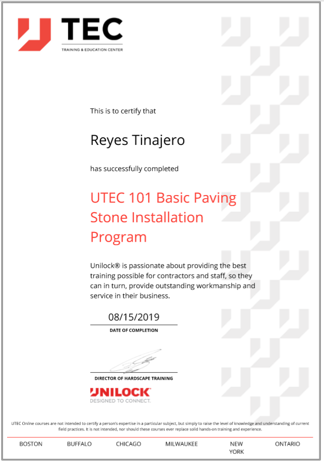 Reys Unilock Basic Paving Certification.