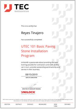 Reys Unilock Basic Paving Certification.