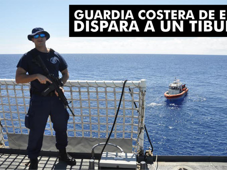 Tripulacion de la Guardia Costera dispara a tiburón mientras la tripulación nadaba en el mar