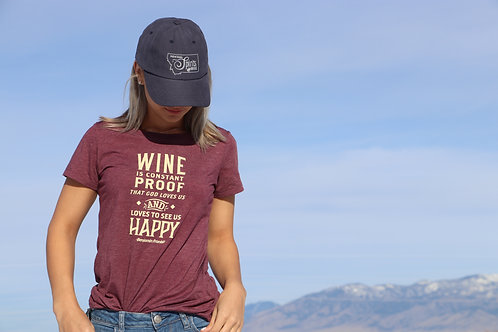 T-Shirt : WINE IS CONSTANT PROOF THAT GOD LOVES US AND LOVES TO SEE US HAPPY
