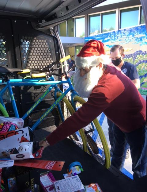 unloading the sleigh