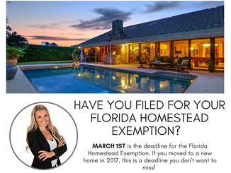 The Florida Homestead Exemption Deadline Is Coming In HOT....