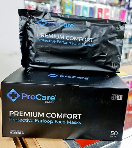 Mascarillas ProCare Black Empaque de 50