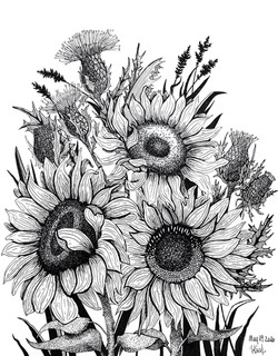 Thistles and Sunflowers - 10x12 inches -
