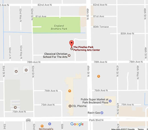 Map giving location of Pinellas Park Performing Arts Center