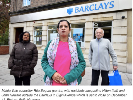 Maida Vale residents oppose closure of Barclays bank