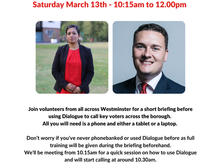 March 13th Westminster Phonebank Session