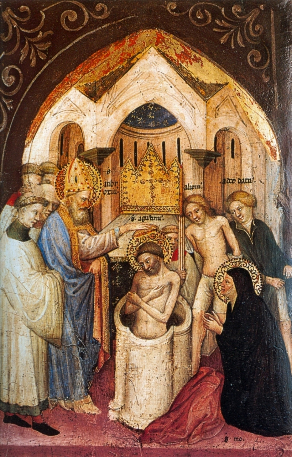 Saint Augustine Baptized by Saint Ambrose, by Nicolo di Pietro (scan) [Public domain], via Wikimedia Commons