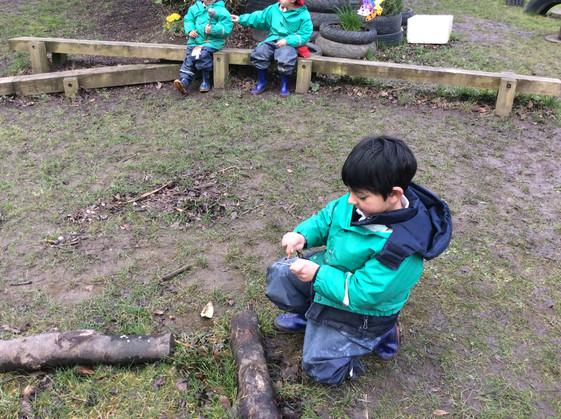 Making Boggits in Forest School!