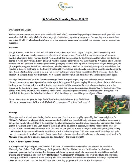 St Michael's Sporting News 2019/20