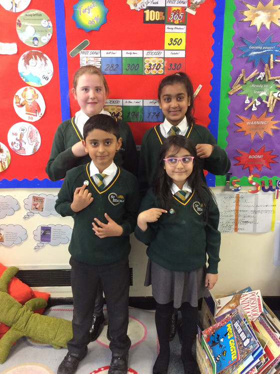 Proudly wearing our attendance badges!