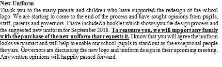 New School Logo/Uniform information!