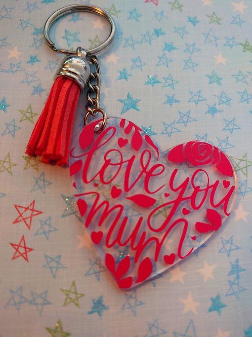 'love you mum'  Heart keychain