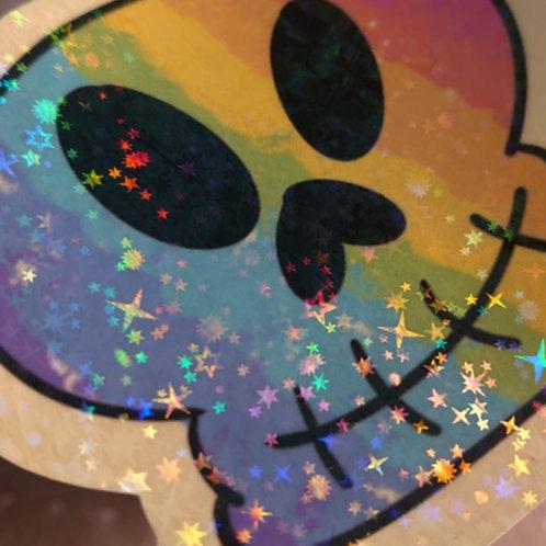Rainbow Holographic skull sticker