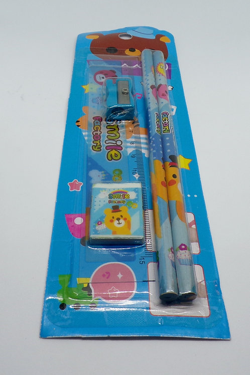 Smile factory 5 piece children's stationery set (Blue Bear)