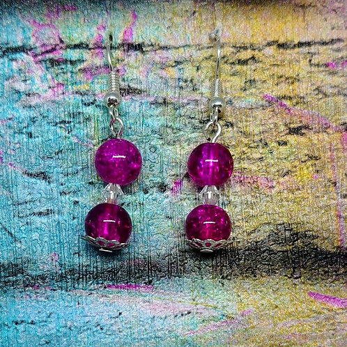 3 bead dangle earrings