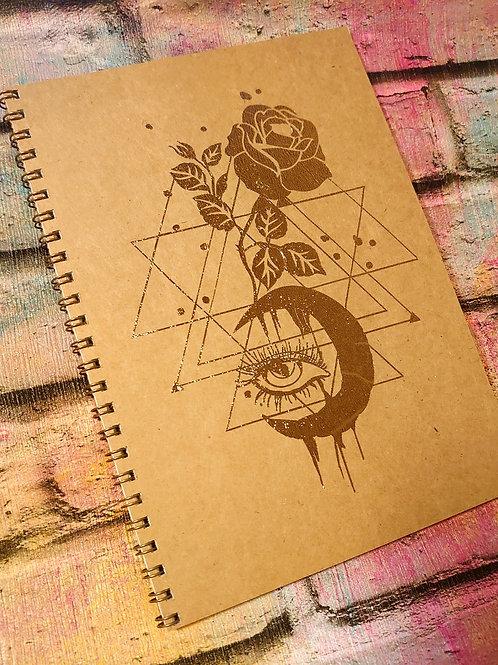 A5 notebook -Metallic eye/moon/roses  design