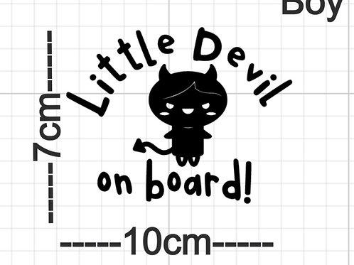Little devil on board car decal