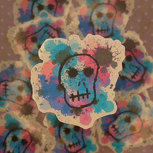 Water colour skull sticker