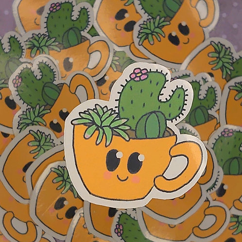 cactus in a cup sticker
