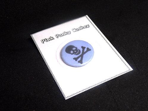 Light Blue Skull pin badge (1 inch)