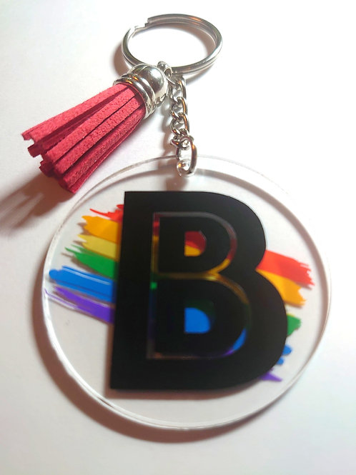 Rainbow with Initial Keychain