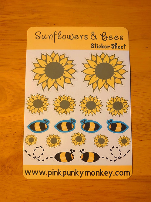 Sunflowers & Bees sticker sheet