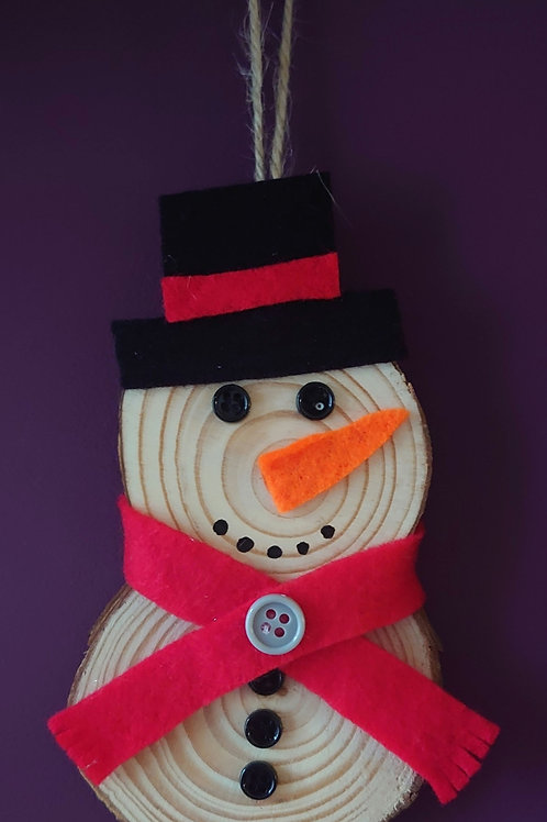 Handmade Wooden snowman decoration