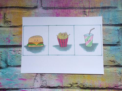 Burger, fries & shake - A5 Print