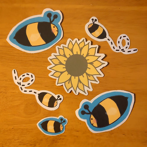 Sunflower & bees Die cut stickers 6 pack