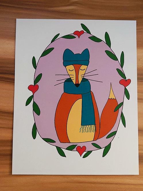 Winter Fox A5 art print
