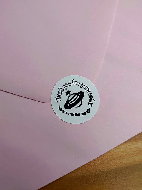 24mm Round Thank you stickers PLANET