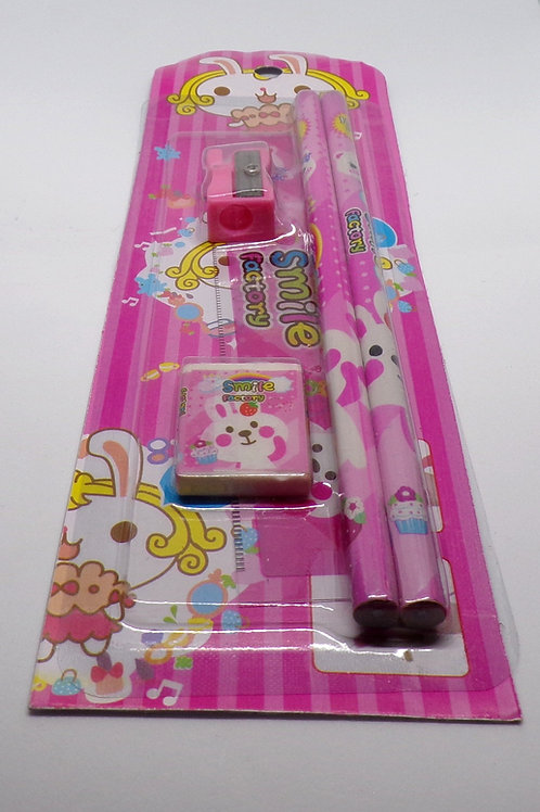 Smile factory 5 piece children's stationery set (Pink Bunny)