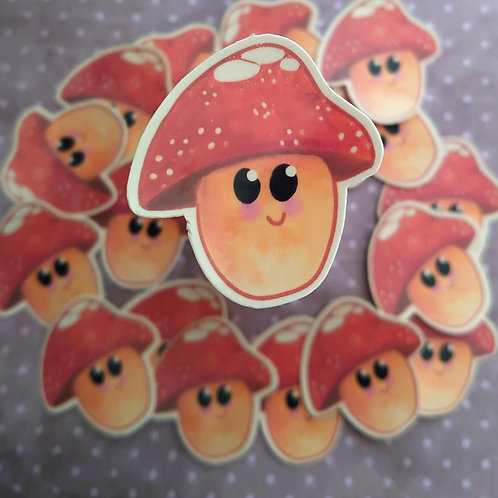 Water colour toadstool sticker - laminated