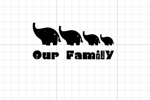 Elephant 'our family' car decal