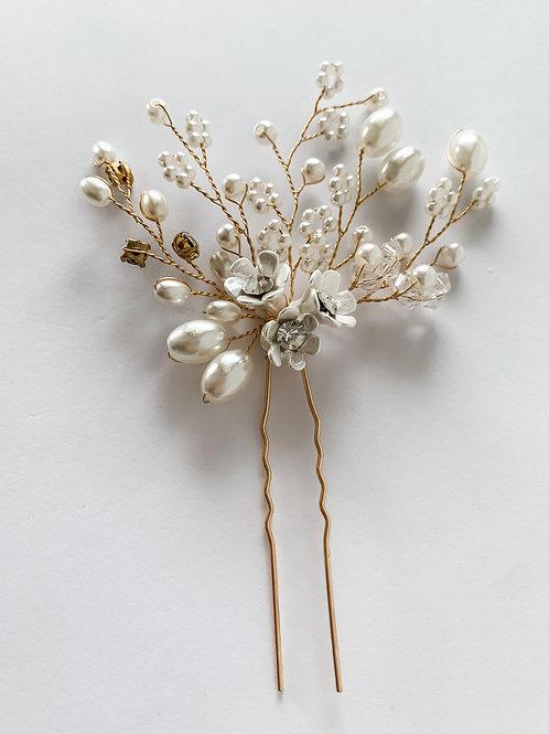 Handmade Beaded Flower Branch Hairpiece