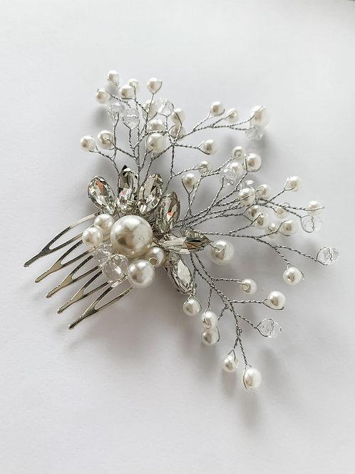 Handmade Silver Beaded Pearl With Rhinestones