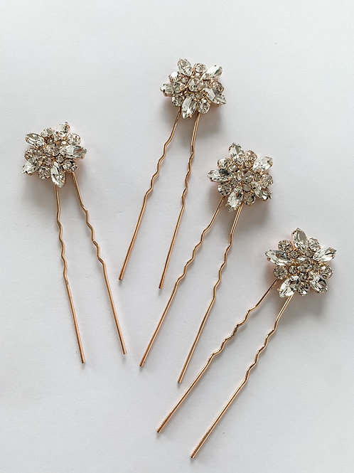 Handmade Set Of 4 Crystal Rose Gold floral Hairpins