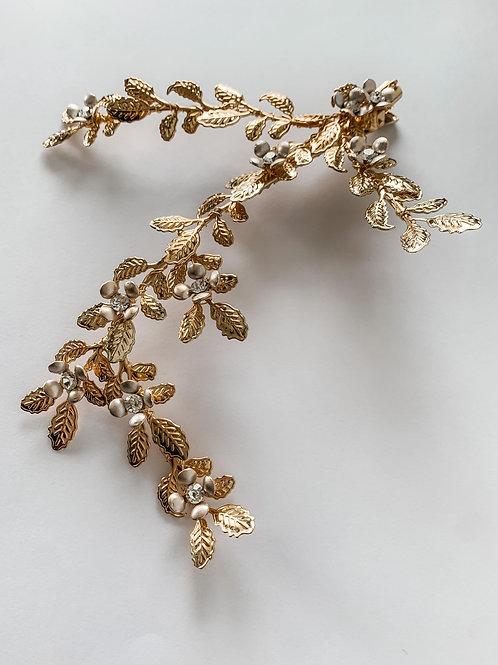 Handmade Retro Gold Floral Leaf Hair Clip