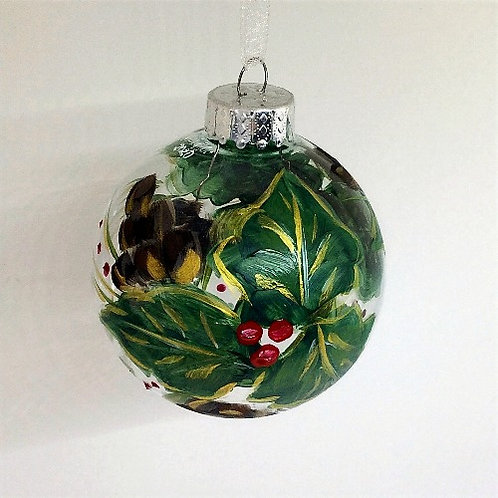 Glass Ornament - Holly I