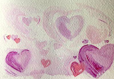 original love hearts watercolor painting